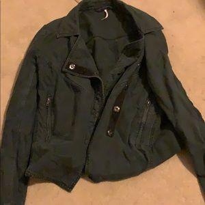 Free People black linen jacket